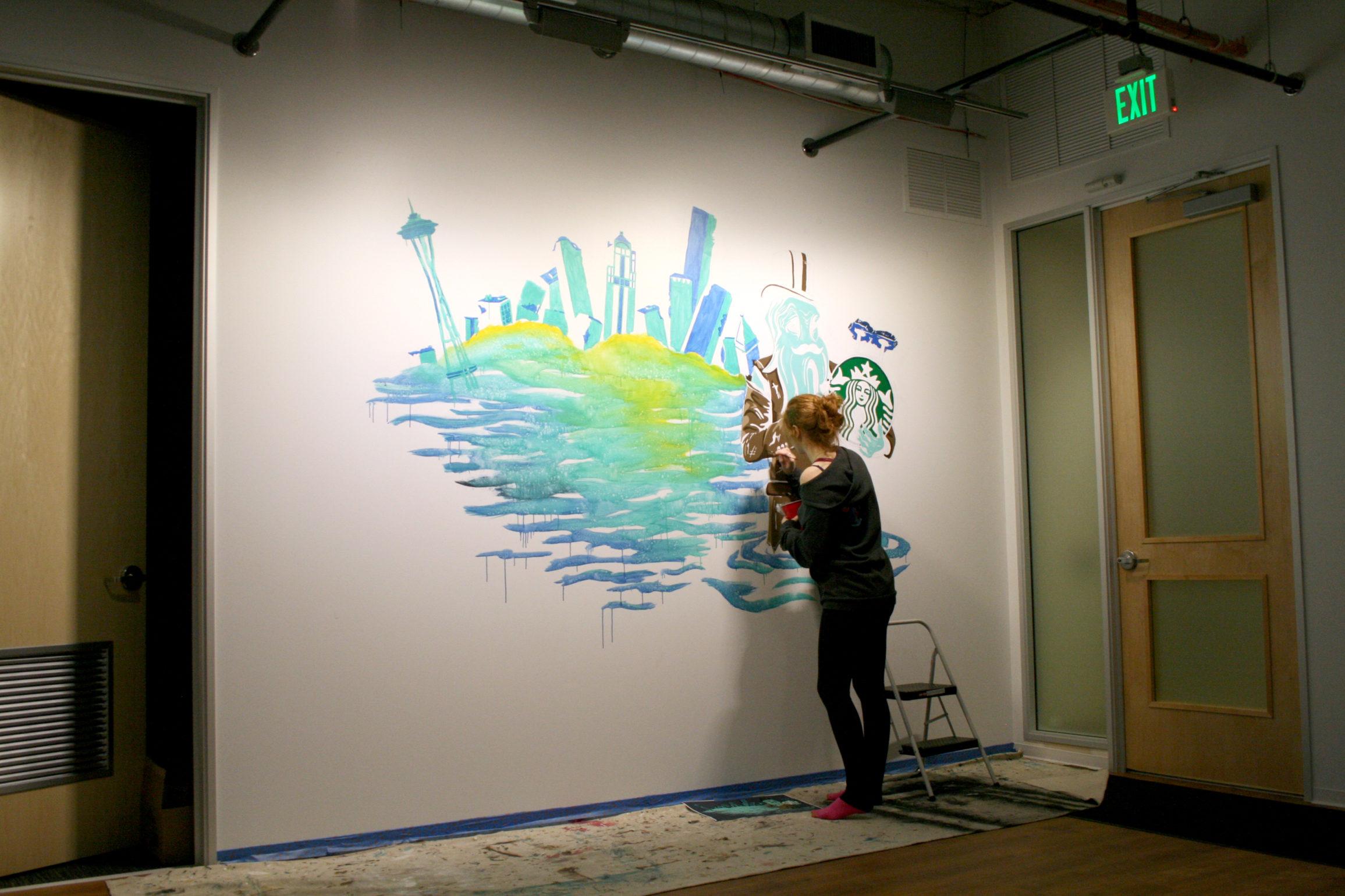 Seattle Office Mural Progress