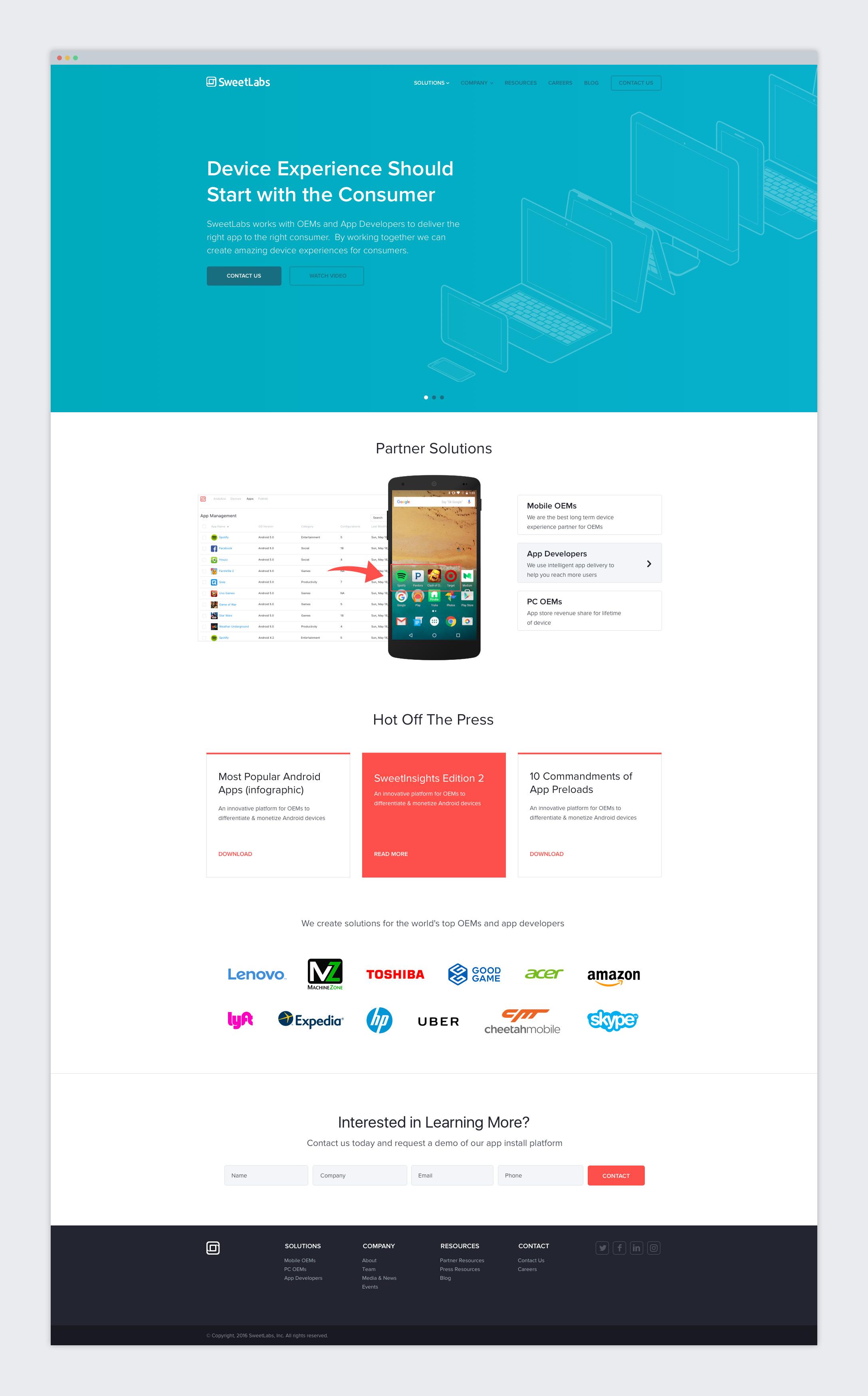 SweetLabs Website Design