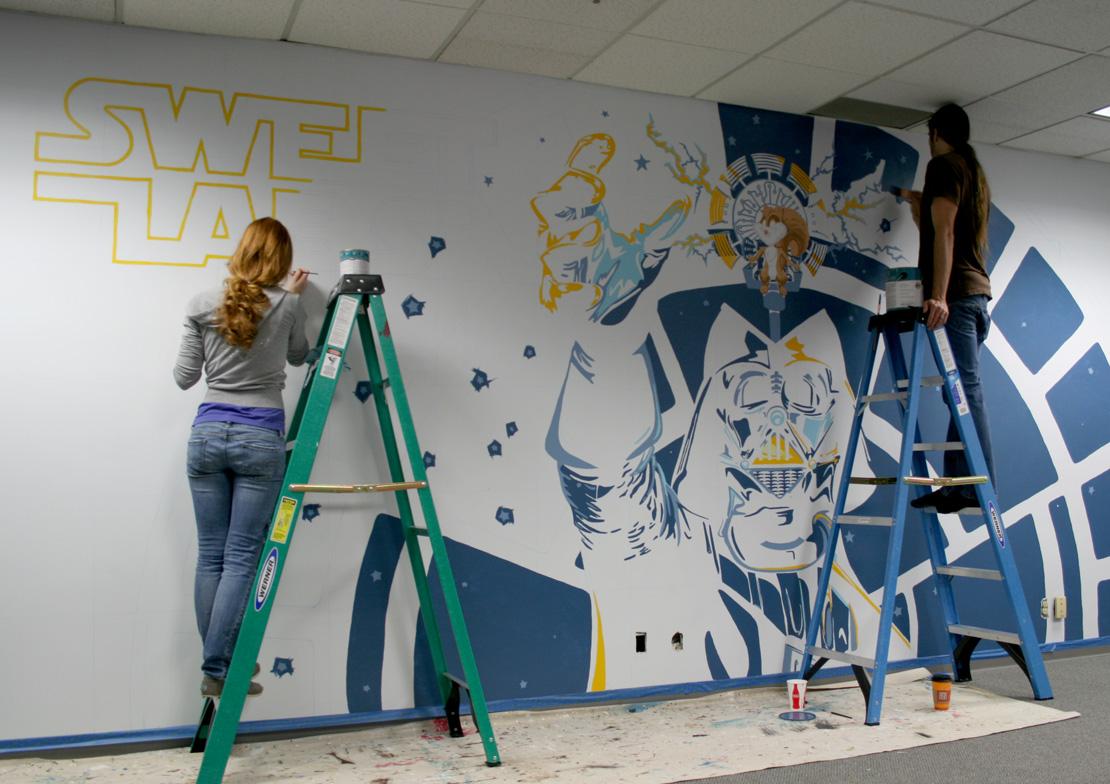 Vader Mural Progress